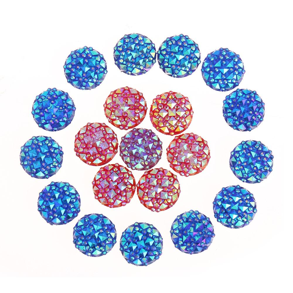 40pcs 12mm Resin Round Flatback Rhinestone Buttons Gem Accessories DIY Craft