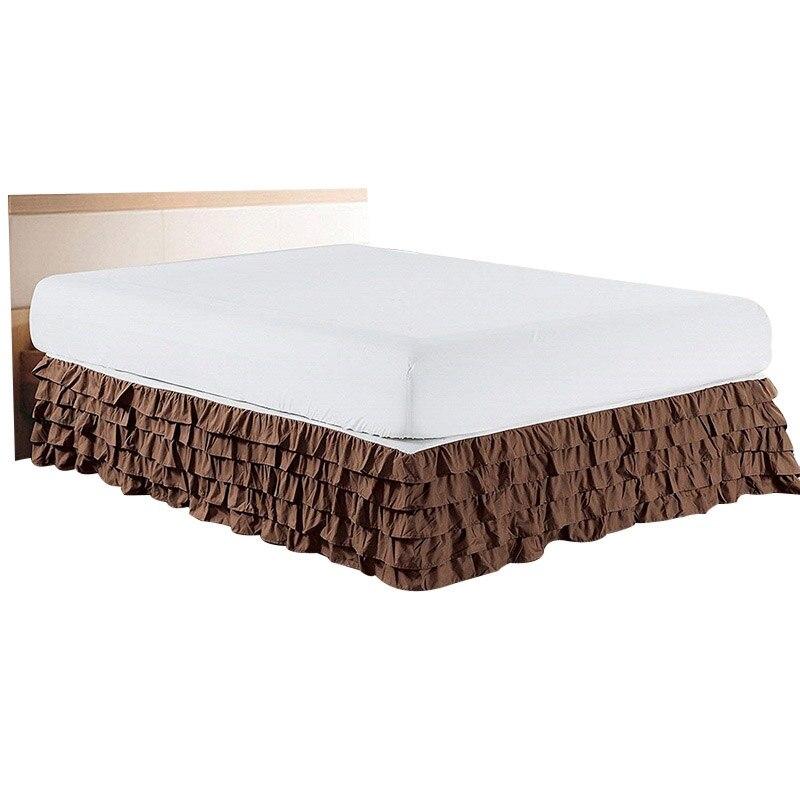 5 Lagen Ruches Bed Rok Twin/full/queen/king Size Bed Cover Zonder Oppervlak Hotel Thuis Slaapkamer Elastische Bed Rok Couvre Lit