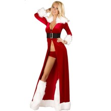 Women Sexy Christmas Cosplay Costumes Halloween Festival Uniform Long Dress Santa Clause for hot Women Sexy Lingerie
