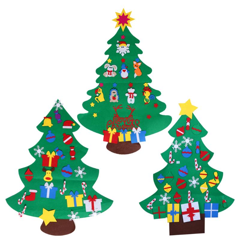 DIY Stereo Felt Christmas Tree with Decorations Door Wall Hanging Children Gifts New Yea ...