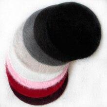 Дамы сплошной цвет Берет пушистый простой шик небольшой круглый женский кепки для осени KNG88