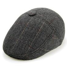 Fibonacci 2017 New High Quality Wool Plaid Beret Hats For Men Caps Inside Plush Newsboy Hat