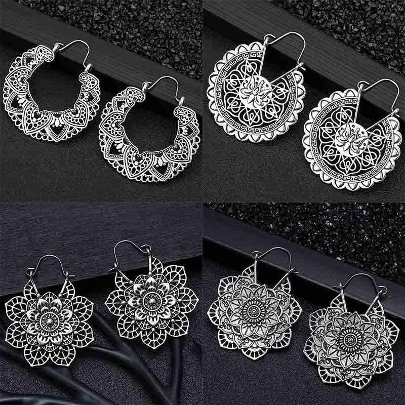 20 stile Indian Tribal Messing Ohrring Baumeln Ohrring Blume Verzierten Swirl Gypsy Ohrring Für Frauen Boho Vintage Ohrring