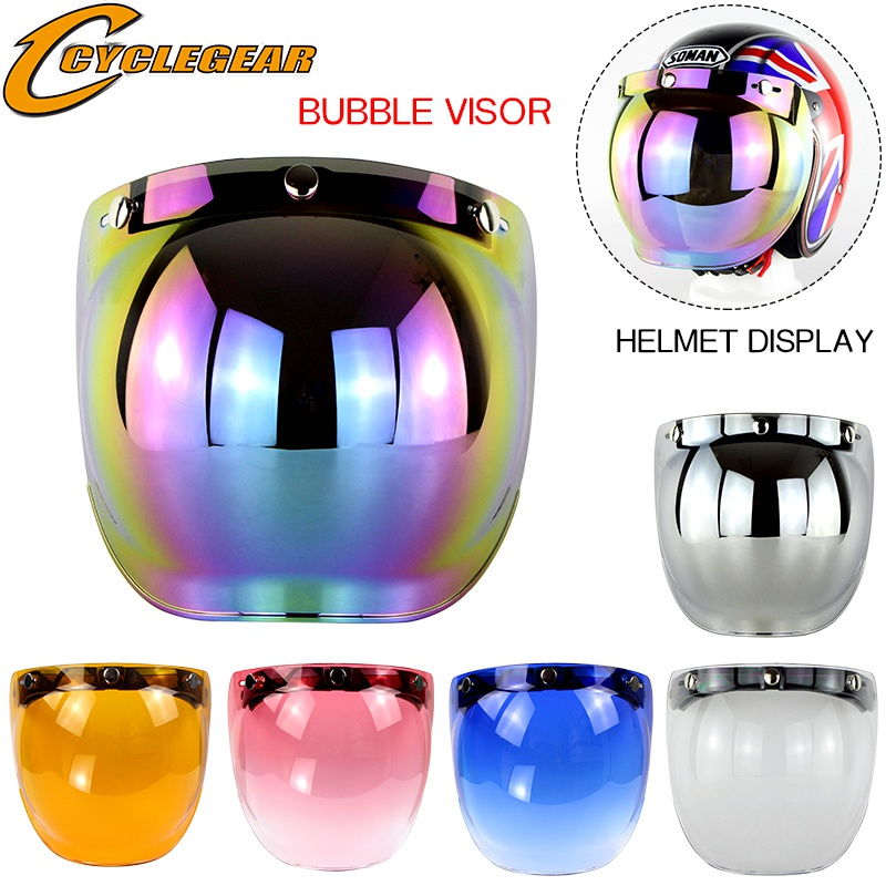 Clear Visor Bubble type for open face motorcycle crash helmets