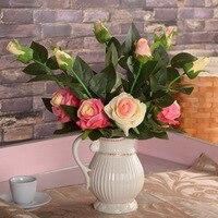 Vaas/De groothandel centrum rose 1 bloemknop 1 simulatie zijde bloem bloemen bruiloft hotel decoratie Valentine Gift kwaliteit