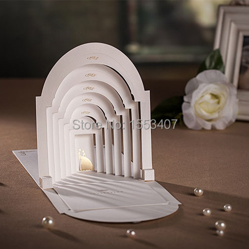 2017 Hot S Luxury 3d Printing Wedding Invitation Card For