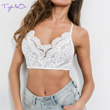 TryMeOn Halter Hanging Neck Solid White Lace Crochet Flower Soft Bra Women Brief Bras Sleepwear Nightwear Sexy Lingeries(China)