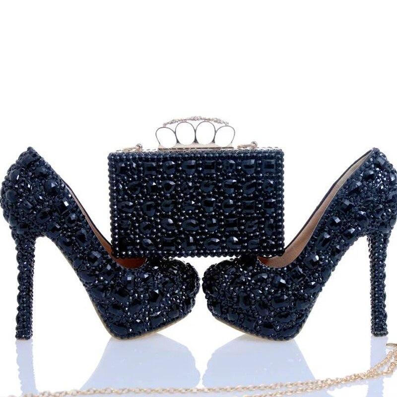 Black Crystal Bridal Dress Shoes with Clutch Rhinestone Wedding Party Shoes Cinderella Prom Pumps Sexy Nightclub Party Heels