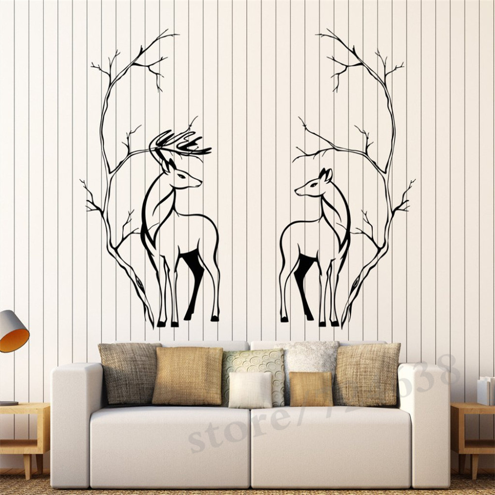 Deers Couple Animals Vinyl Wall Stickers Tree Branches Room Decor