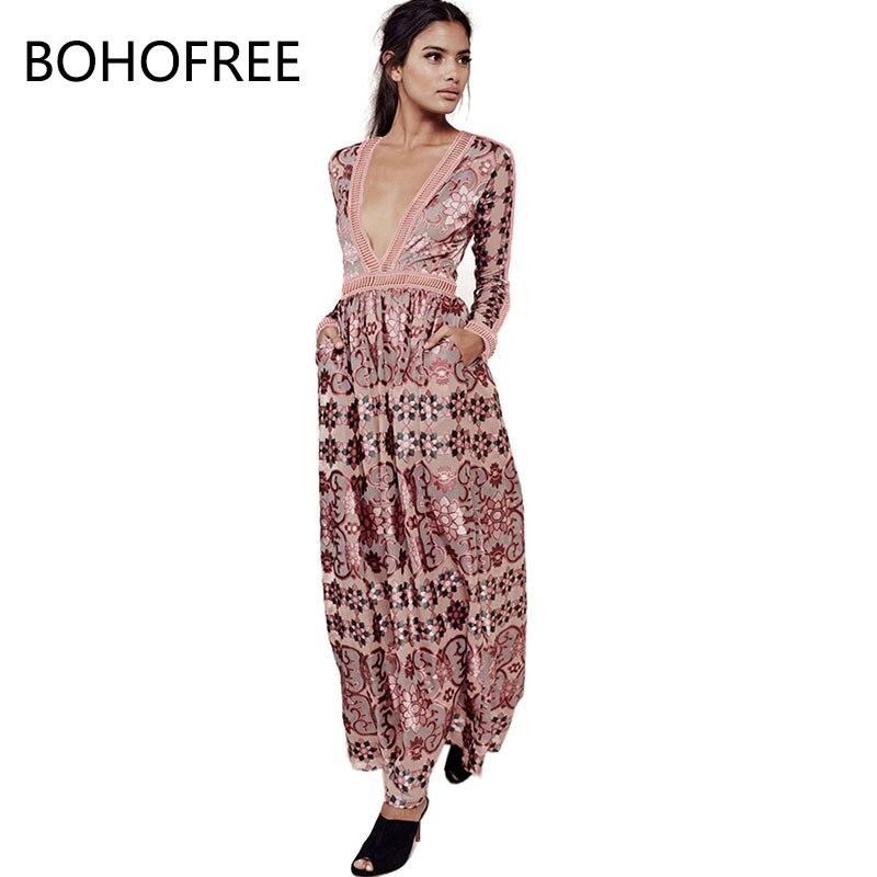 2017 New Holiday Beach Dress Plunging Neckline Zipper Hollow Out Lace Patchwork Hippie Maxi Chiffon Floral Dress Boho Women