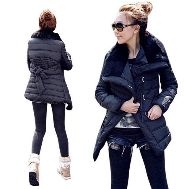 2016 Новых Зимней Моды мех кролика большой лацкане ватные куртки верхняя одежда женщин средней длины Дизайн хлопка-ватник пальто куртки