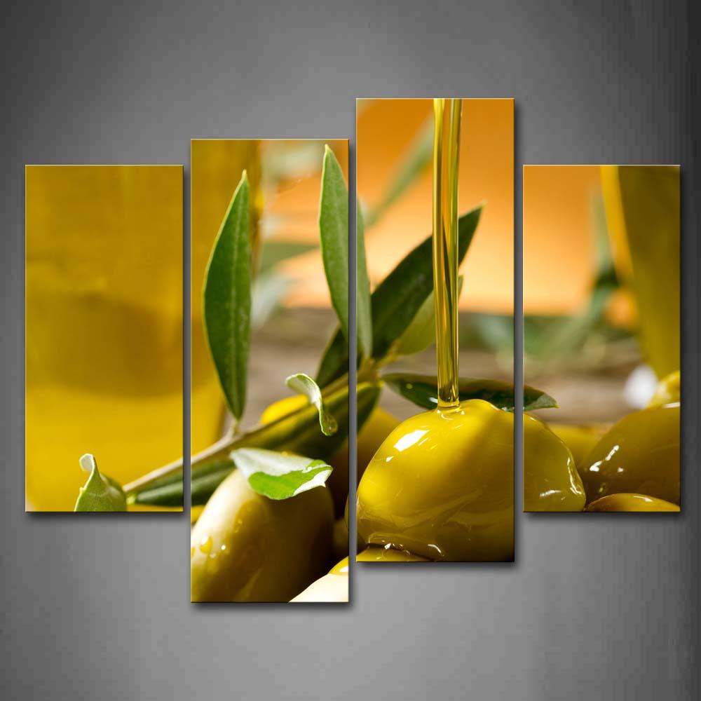 Encadrée mur Art photos jaune Olive vert feuille toile impression alimentaire affiches avec des cadres en bois pour la maison salon décor