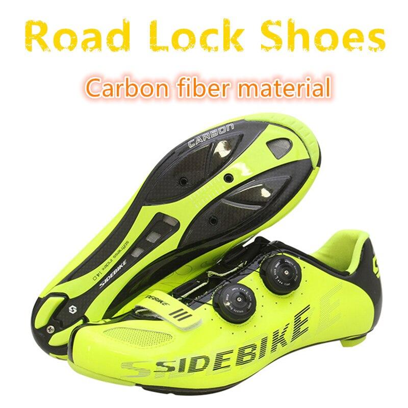 2018 NOUVEAU Professionnel course en fiber de carbone Route verrouillage chaussures ultra léger 439g anti-dérapage porter haute qualité Équitation pas cher vélo chaussures