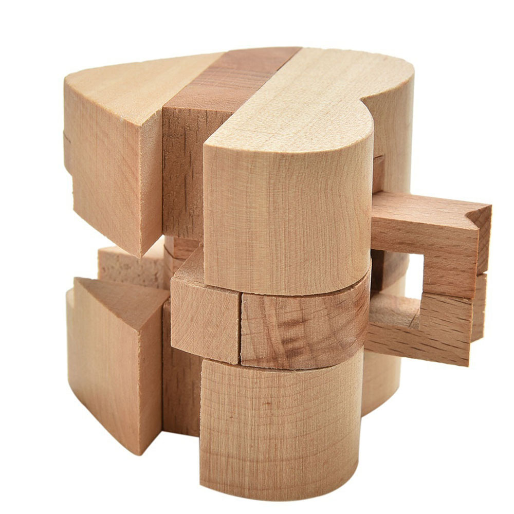 Educational Intelligence Game Luban Lock Valentine's Day Gift 3D Wooden Heart Shape Cube IQ Puzzle Brain Teaser Russia Ming Lock
