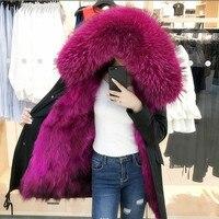 Натуральный мех парка для Для женщин зима Настоящий Лисий Меховая подкладка пальто енота Мех животных Толстовка хлопковая куртка