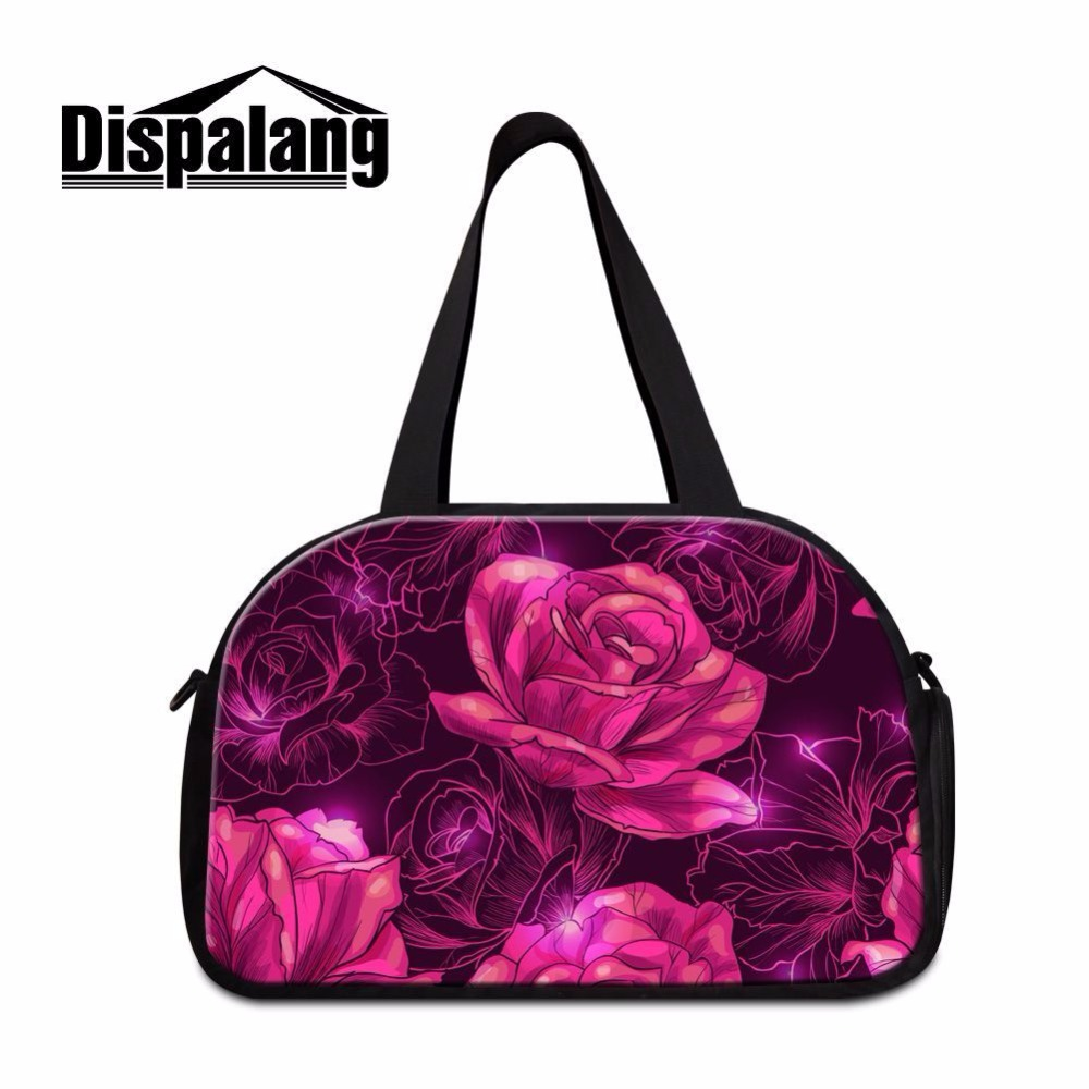 Dispalang brand designer women luggage bags pink floral striped prints portable travel t ...