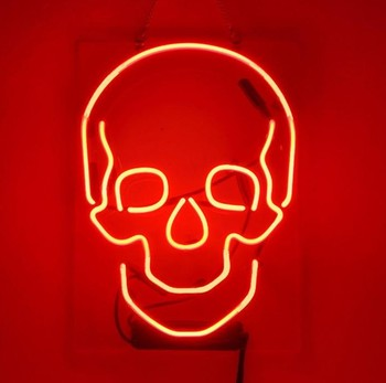 Custom Skull Glass Neon Light Sign Beer Bar