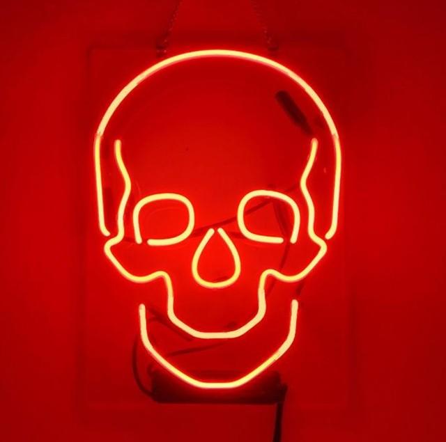 Custom Skull Glass Neon Light Sign Beer Bar