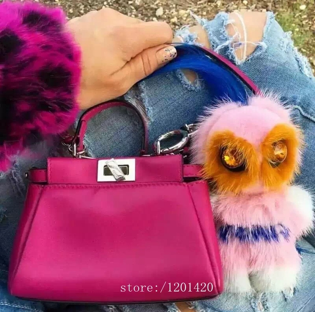 Rreal мех карл монстр мешок шарм тегов помпонное сумка ошибки автомобиля брелок роскошные самодельные куклы унисекс рюкзак сумочка шарм