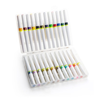 Drawing Marker Pen, Brush Touch Felt tip Pen 24 Colors Set With Flashing Best for Coloring Drawing Painting Graffiti Calligraphy