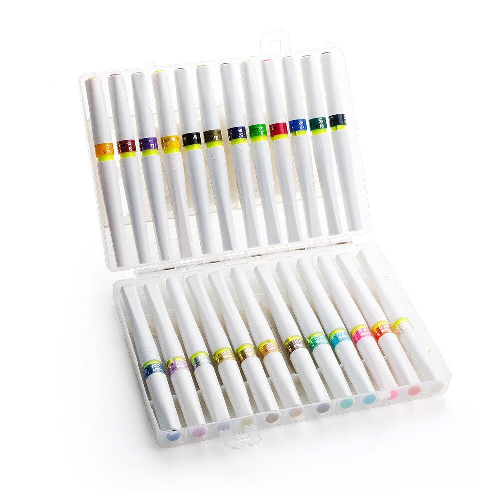 Stylo marqueur de dessin, pinceau tactile feutre-pointe stylo 24 couleurs ensemble avec clignotant meilleur pour le dessin à colorier peinture Graffiti calligraphie