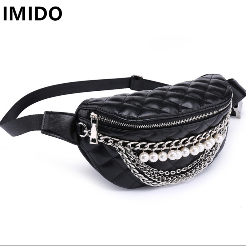 IMIDO New Bags Solid Color PU Leather Waist Packs Fashion Classical Shoulder Bags All-match Summer ling Back Pack Travel Bags