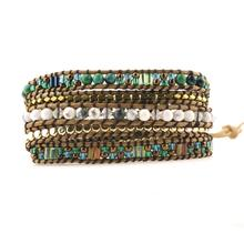 Top Quality Mixed Stones Gold Beads 5 Layered Leather Wrap Bracelets Antique Weaving Bracelet Dropship Jewelry gathered sleeve mixed print wrap top