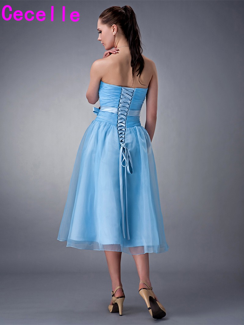 Real Images Short Tea Length blue Strapless Ruching Organza ...