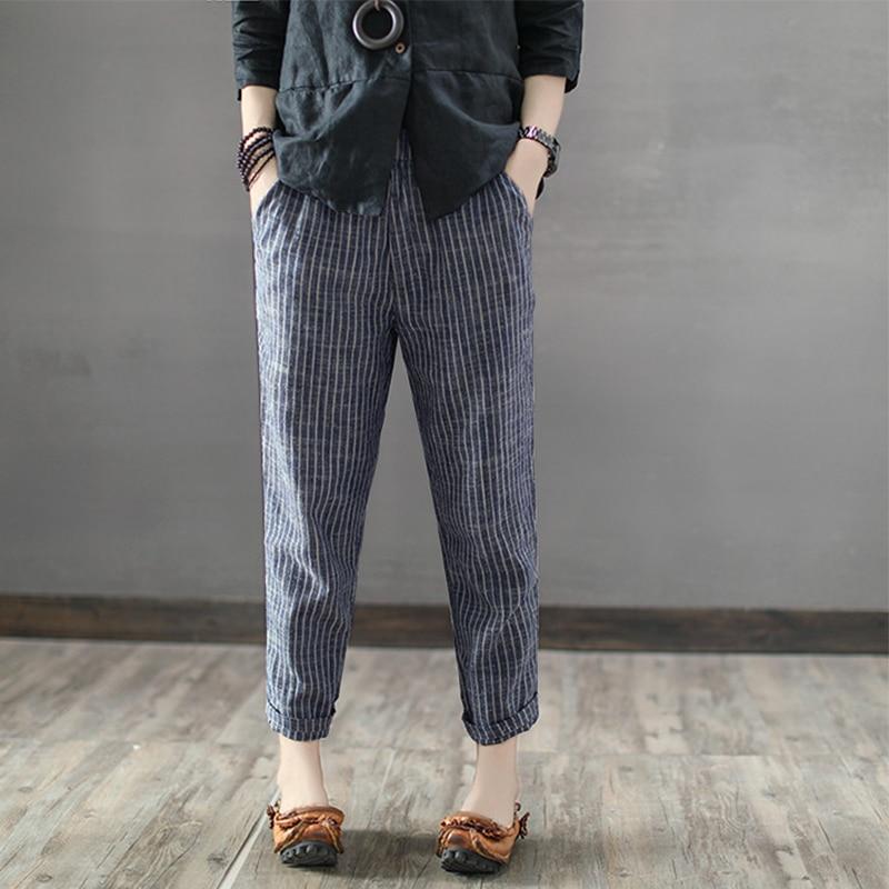 S 5XL ZANZEA Women High Elastic Waist Party Striped   Wide     Leg     Pants   2019 Casual Retro Cotton Linen Pantalon Loose Turnip Trousers