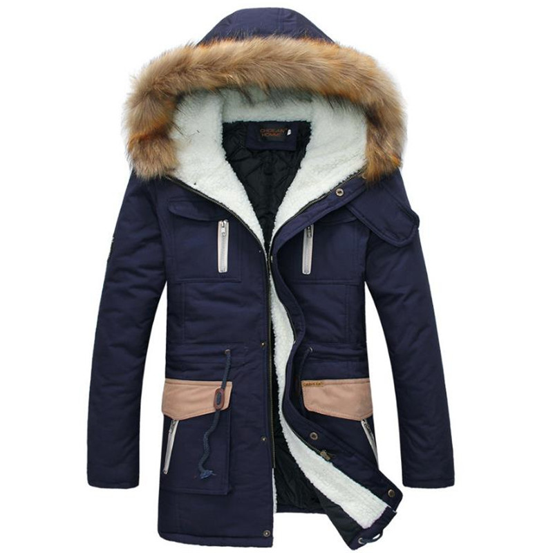 New 2017 Winter Down Cotton Coat Men Wadded Jacket Fur Collar Hooded Slim Men's Parkas Thick Warm Male Overcoat Plus Size CM1771 2017 new fashion winter jacket women long slim large fur collar warm hooded down cotton parkas thick female wadded coat cm1678