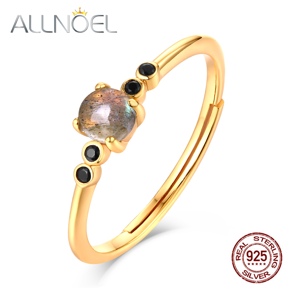 ALLNOEL 925 Sterling Silver Stackable Rings For Women  Labradorite Gemstone Gold Luxury Fine Jewellry Wedding Halloween Jewelry