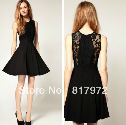 New Arrive Glamour Black Cute Hollow lace flower A Dress Woman Party ...