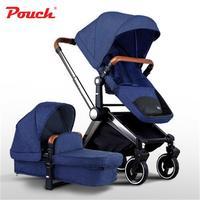 Adorbaby PouchP88 Роскошная детская коляска складная детская коляска с высоким обзором для сидения и лежания для новорожденных четырехколесных тр