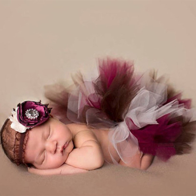 Newborn baby girl color lace tutu dress with headwear photography props new born baby photo shoot