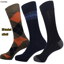 Fcare 6PCS 3 pairs 44 45 46 47 plus size big rhombus stripe blue black men