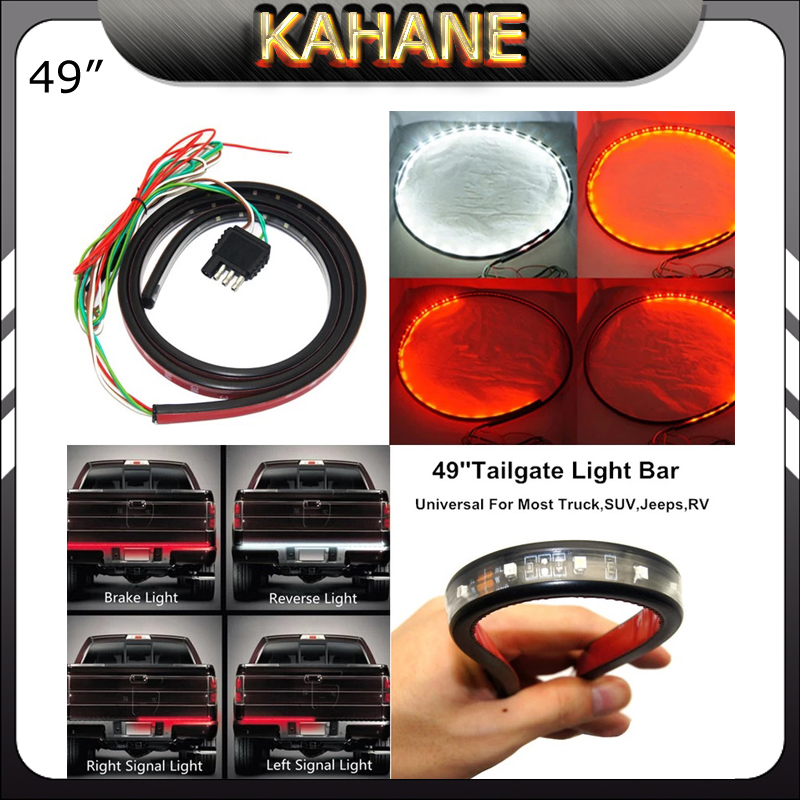 Flexible 49 LED Light Strip Tailgate Bar Backup Reverse Brake Tail Turn Signal Light 5 Function Red White For Truck SUV Pickup motorcycle light 48 led flexible strip for tail brake bulbs stop turn signal lights license plate lamp red and yellow 8inch