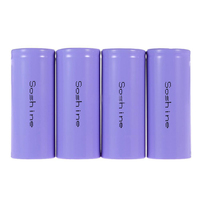 Soshine 4x IFR 26650 Battery 3.2V Rechargeable 3200mAh 30A Flat Top LiFePO4 Purple