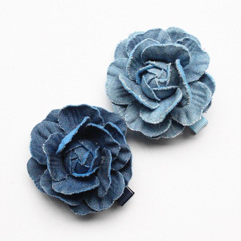 Top Quality 20pcs Floral Hair Accessories Navy Blue Camellia Flower Girls Hairpins Cowboy Material 5CM Diameter Hair Clips