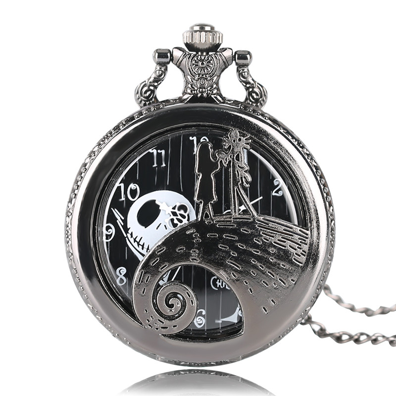 Gift Fashion Black Tim Burton Quartz Pocket Watch The Nightmare Before Christmas Necklace Chain Pendant Men Women Steampunk Kids