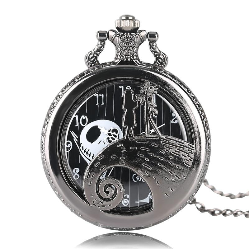 Gift Fashion Black Tim Burton Quartz Pocket Watch The Nightmare Before Christmas Necklace Chain Pendant Men Women Steampunk Kids