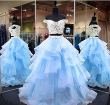 quinceanera dresses 2019 Gorgeous Off the Shoulder Two Piece Ball Gown Prom Lace Appliqued Ruffles Formal Pageant Party