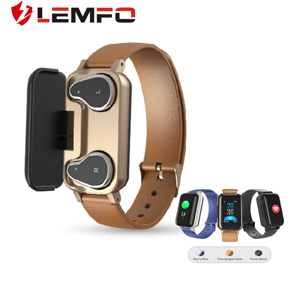 LEMFO Smart Watch with Bluetooth Headphone Men Women IP 67 Waterproof Heart Rate Blood Pressure Monitor