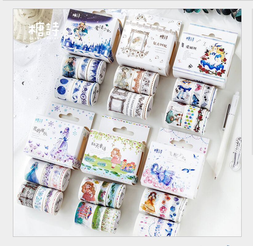 8 Rolls/box Magic Astrology Girl Fate Gear Alice Fairy Tale Rose Flowers Washi Tape DIY Planner Diary Scrapbooking Masking Tape