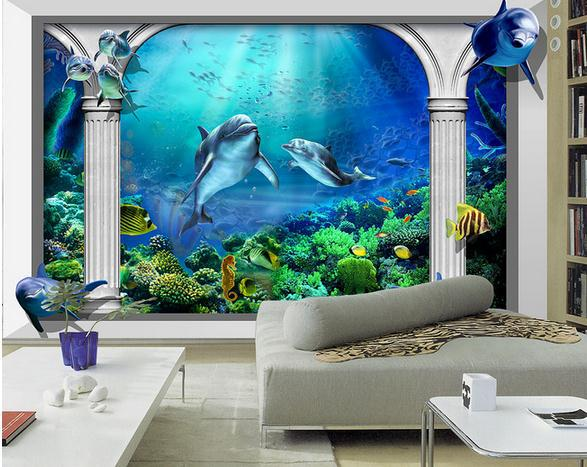 custom photo wallpaper 3d wall murals wallpaper Sea world Marine aquarium Roman column 3d TV setting wall wallpaper living room