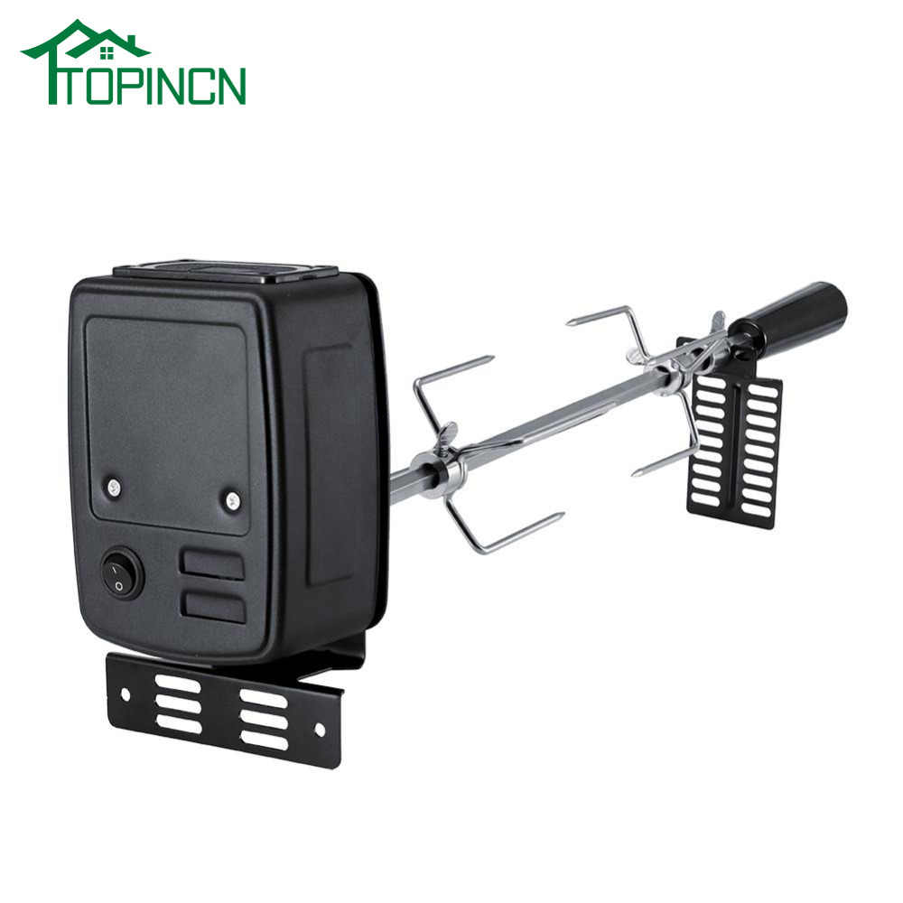 TOPINCN BBQ Rotisserie Motor Set Universal Rotisserie Kit for Barbecue Stainless Steel Spit Rod Meat Forks with Electric Motor
