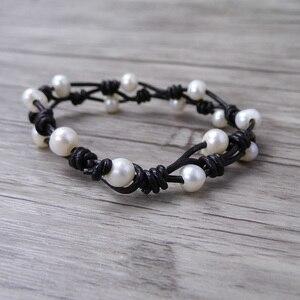 Image 2 - Boho wrap Pearl Leather bracelet Pearl wrap bracelet Single wrap Bracelet Real Pearl Jewelry yoga jewelry