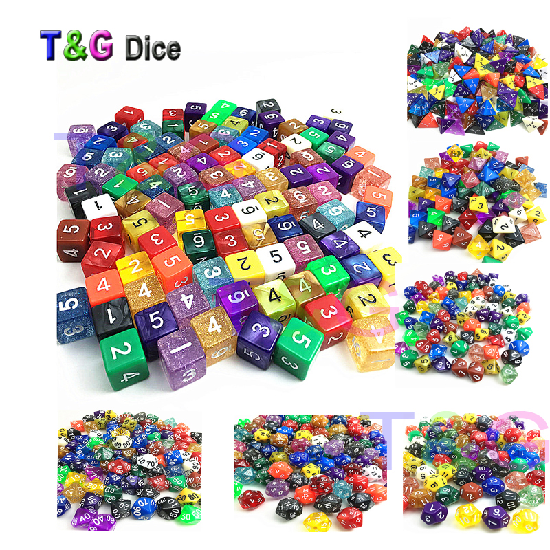 Set of 10 Random Color,Random Style,D4,D6,D8,D10,D00,D12,D20 for Dice  Playing,as Board Game Accessories From Games