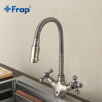 Frap New Arrival Double Handle Kitchen Faucet Goose Nose Tap Antique Brass Hot And Cold Water