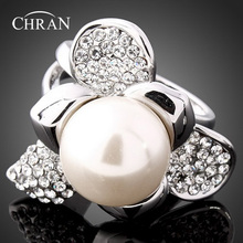 Chran Silver Plated Faux Pearl Flower Finger Rings for Women Exquisite Sparkling Crystal Ladies Jewelry Accessories faux pearl