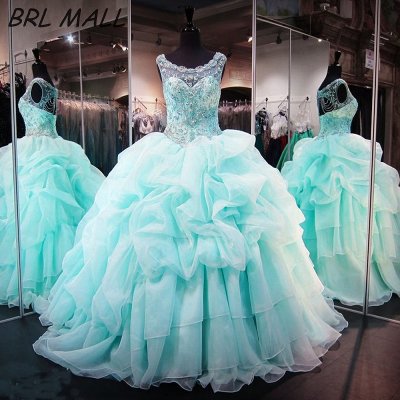 11748df88e5 Elegant vestidos de 15 anos 2018 Mint Quinceanera Dresses Ball Gown Beaded  Crystal Ruffle Backless Organza Sweet 16 Dresses
